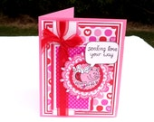 Flying Cupid Pig, Pink and Red Valentine's Day Card, Sending Love Your Way Card, Thinking Of You, Love Card, Valentine, Greeting Card