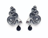 Gothic Snake Earrings Large Statement Oxidised Silver Ear Climbers Gothic Jewelry Black Swarovski Crystal Drop