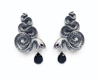 Large Gothic Earrings Silver Snake Ear Climbers Gothic Jewelry Statement Oxidised  Black Swarovski Crystal Drop Halloween