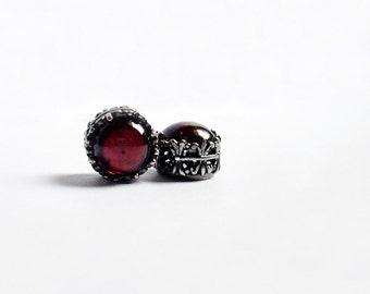 Small Garnet stud earrings // red earrings // garnet jewelry // january birthstone gift wife girlfriend sister