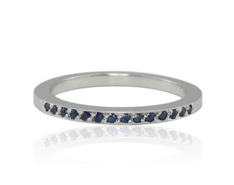 Sapphire Wedding Band - White Gold Wedding Band or September Birthstone Ring with Milgrain and Pave Set Blue Sapphires - LS4553