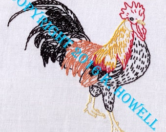 Rooster Hand Embroidery Pattern