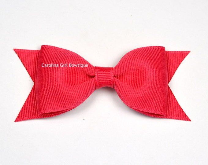 """French Pink Tuxedo Bow  ~ 3.5"""" Hairbow ~ Small Hair Bow ~ Girls Barrette ~ Toddler Bow ~ Baby Hair Bow ~ Hair Clip ~ Girls Hair Bow"""