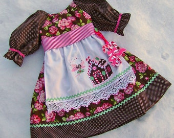 SALE 3T Christmas Dress Gingerbread House Candy Canes READY to SHIP Pink Mint Chocolate Apron Dress Baby Girls Dress