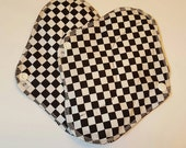 Set of 2 Black & White Checker Printed Reusable Cloth Mama Pads . 8 Inch FREE Shipping