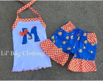 Summer Goldfish Short Halter Top Outfit, Goldfish Summer Outfit, Custom Boutique Short Outfit, Goldfish personalized Birthday Girl Outfit