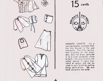 Antique 1920's Infants' Layette Sewing Pattern Advance 809 Roaring 20's Childrens Pattern One Size