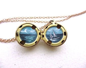 Ocean Sailing Ship Locket, Tiny Oil Enamel Painting, Miniature Tropical Escape