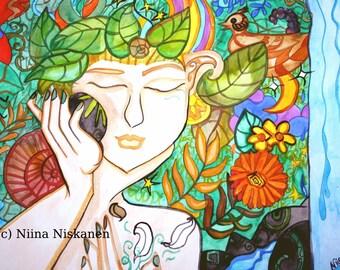 Earth Awakes Fantasy Art Print A5 / 5 x 7 Pagan Art Pagan Myths Goddess Watercolor Art Print Earth Fantasy Painting by Niina Niskanen