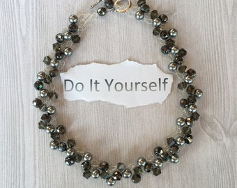 DIY Beaded Wire Crochet Necklace Kit (including Pattern) - Silver with Black Tone Beads