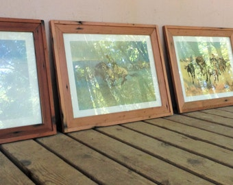 Fredric Remington Lithograph collection in Redwood, Barnwood frames, cowboy man cave art
