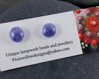 Purple pops lampwork surgical steel stud post earrings MTO