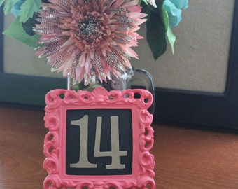2 inch tall serif style Wedding Table Numbers bare chipboard [choose quantity, sticker or plain back]
