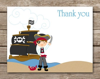 PRINTABLE - Pirate Thank you Cards - Pirate Birthday Party - Ship