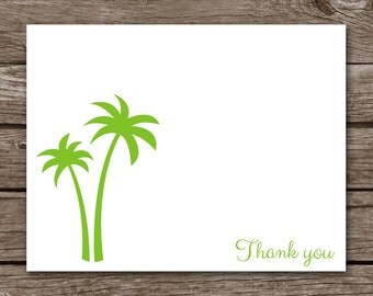 Palm Tree Note Cards - Notecards - Tropical - Beach - Summer - Florida - Stationery - Stationary - Blank - Folded - Personalized - Set of 8