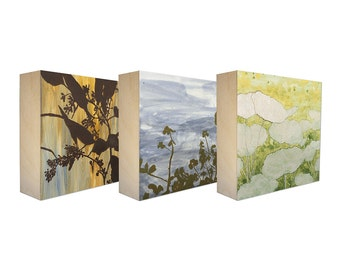 Set of 3 Art Blocks - Limited edition botanical prints on birch panel, plant silhouettes - Free Shipping - Ready to hang - Backyard Sprouts
