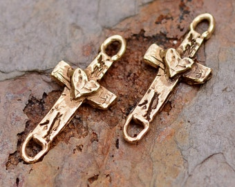 Two Cross with Heart Link or Charms in Gold Bronze, AD51b