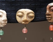 Raku Buddha Face Clip or Brooch- Price is for one