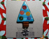 Blue Christmas Tree Pin Handmade Hand Painted Ceramic Holiday  by Sharon Bloom Designs