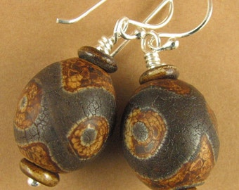 Tibetan bead earrings.'dzi /zee bead'. Brown. Ceramic. Sterling silver 925.