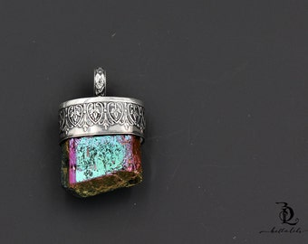 Rainbow Aura Tourmaline and Sterling Silver Specimen Pendant, by BellaLili