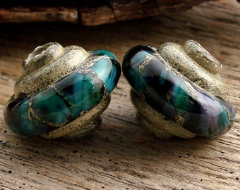 SEASIDE - Baroque Shaped Lampwork - Handmade Lampwork Earring Pair - (2)
