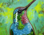 Bird painting 243 Hummingbird 12x12 inch portrait original oil painting by Roz