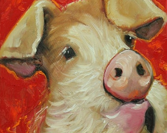 Pig painting 216 12x12 inch original oil painting by Roz