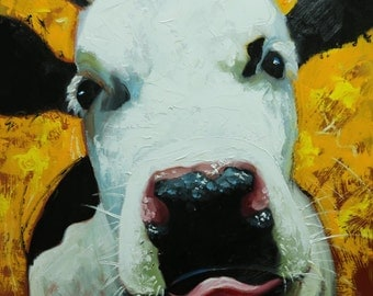Cow painting 1116 20x20 inch animal original oil painting by Roz