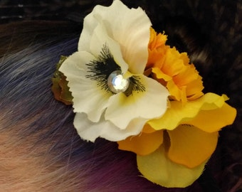 SPRING PICNIC GOLD - White and Gold Floral Hair Fascinator Hairband