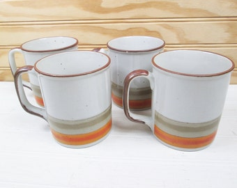 Vintage Coffee Mug Set Lunch Mates Cultura Collection Sunset Japan Stoneware Ceramic