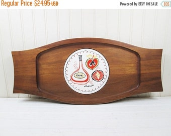 ON SALE Vintage Teak Wood Cheese Plate Ceramic Tile Trivet Center Serving Tray Platter