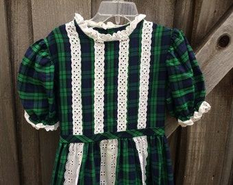 70s Plaid Maxi Dress Girls 6/7