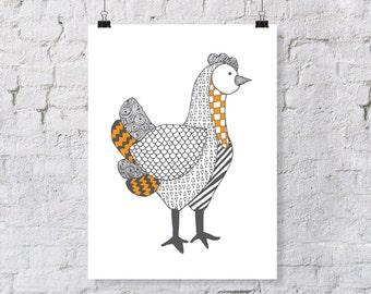 Doodle Chicken – Nursery Art Print