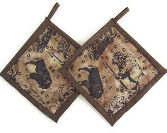 Bison Buffalo Batik Potholders, Buffalo Holders, Buffalo Potholders, Buffalo Pot Holders, Bison Holders, Bison Potholders