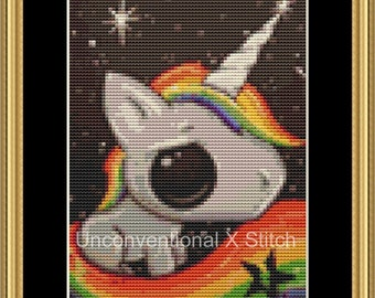 Rainbow unicorn mini cross stitch pattern - Licensed Sugar Fueled