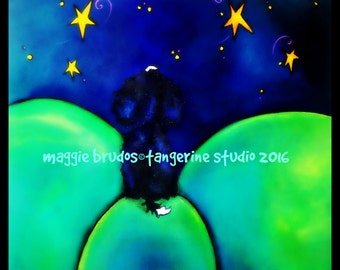 bernese mountain dog berner bmd dreams wishes sojourner shooting star love whimsical magic maggie brudos painting Original whimsical DOG art