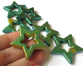 6 40mm Star Beads Green and Gold Beads Star Beads  Painted Acrylic Beads Chunky Beads Multicolor Beads Frame Beads Celestial Beads