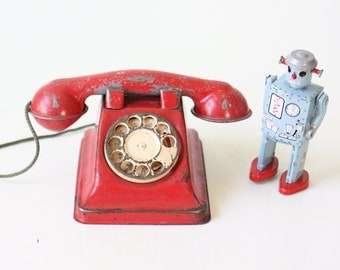Vintage Toy Phone, Tin Red Telephone, Dial-O-Phone