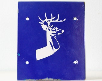 Vintage Deer Sign, Blue Enamel Deer Sign