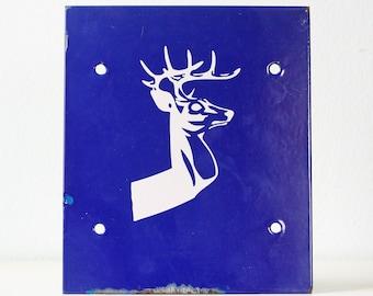Vintage Deer Sign, Blue Enamel Deer Sign