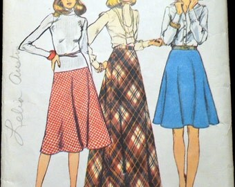 Vintage 70s Sewing Pattern Simplicity 6573 Misses' Bias Skirt in 3 Lengths  Waist 24 Inches Size 8 Complete