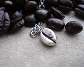 Sterling Silver, Coffee Bean, Necklace, Coffee Bean Jewelry