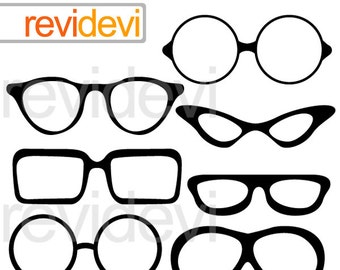 Glasses clipart - glasses silhouette clipart - digital images - instant download