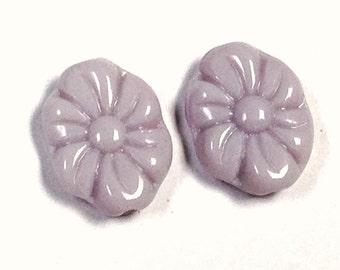 Vintage German GLASS FLOWER Beads Lilac 15mm pkg 2 gl730