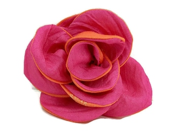 Fabric Floral Pin Brooch , Rose Flower Corsage , Floral Hair Barrette , Pink and Orange Wedding
