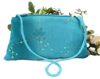 Turquoise Evening Clutch , Blue Purse ,  Evening Bag Clutch , Aqua Sequin Formal Bag , Evening Wristlet , Wedding Clutch , Gift for Her