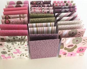 Mini Cards 30 Pink Dot Floral Mix - 3 x 3
