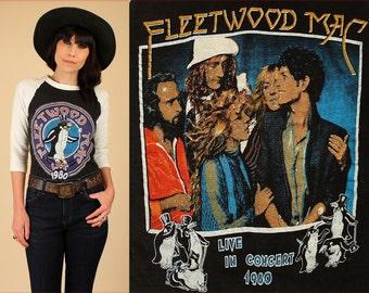 ViNtAgE 70's 80's Fleetwood Mac T-Shirt // 1980 Tusk Concert World Tour // Raglan 3/4 Sleeve T Shirt Stevie Nicks Sz. Small S