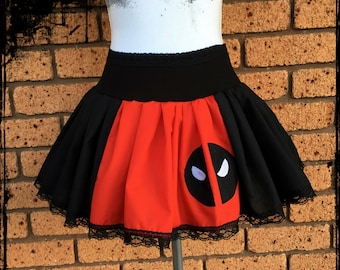 Deadpool Inspired Gathered Mini Skirt Size Small - Ready to Ship